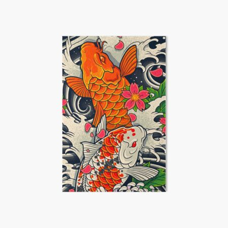 Koi Fish Pond  Art Board Print