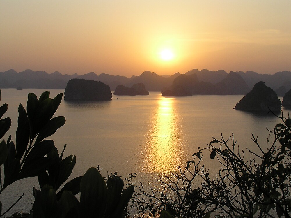 Halong Bay sunset by hallandrewster
