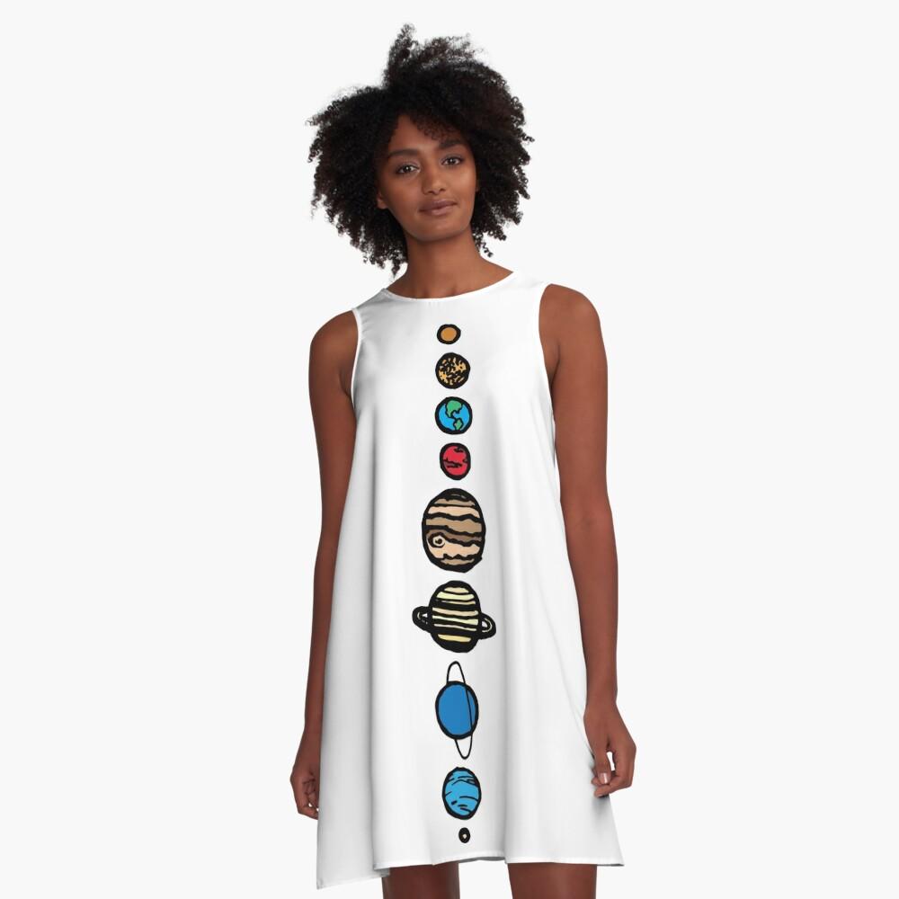 Planets Colour A-Line Dress