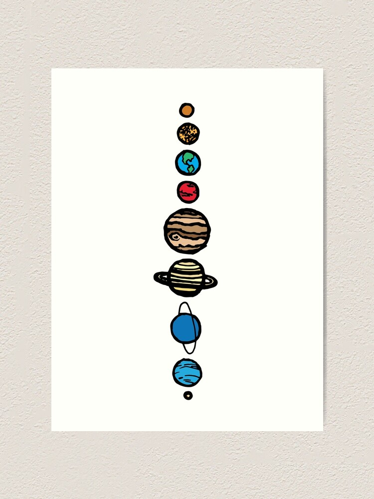 Alternate view of Planets Colour Art Print
