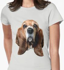 Basset Hound Head Women's Fitted T-Shirt