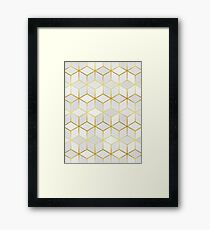 Pattern of squares with gold Framed Print