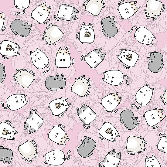 """""""Cute Kawaii Cats Cat Pattern"""" Photographic Print by ..."""