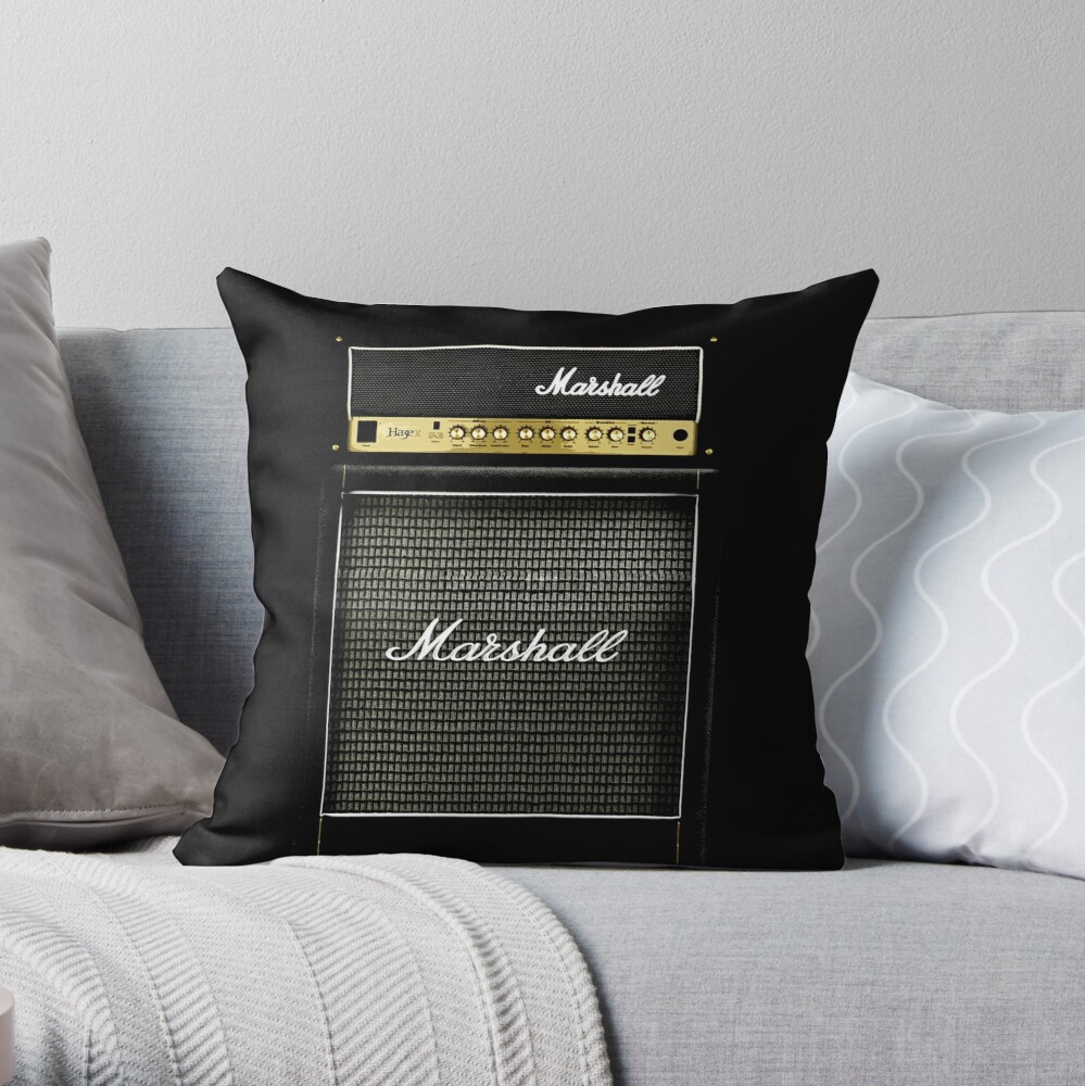 Black and gray color amp amplifier Throw Pillow