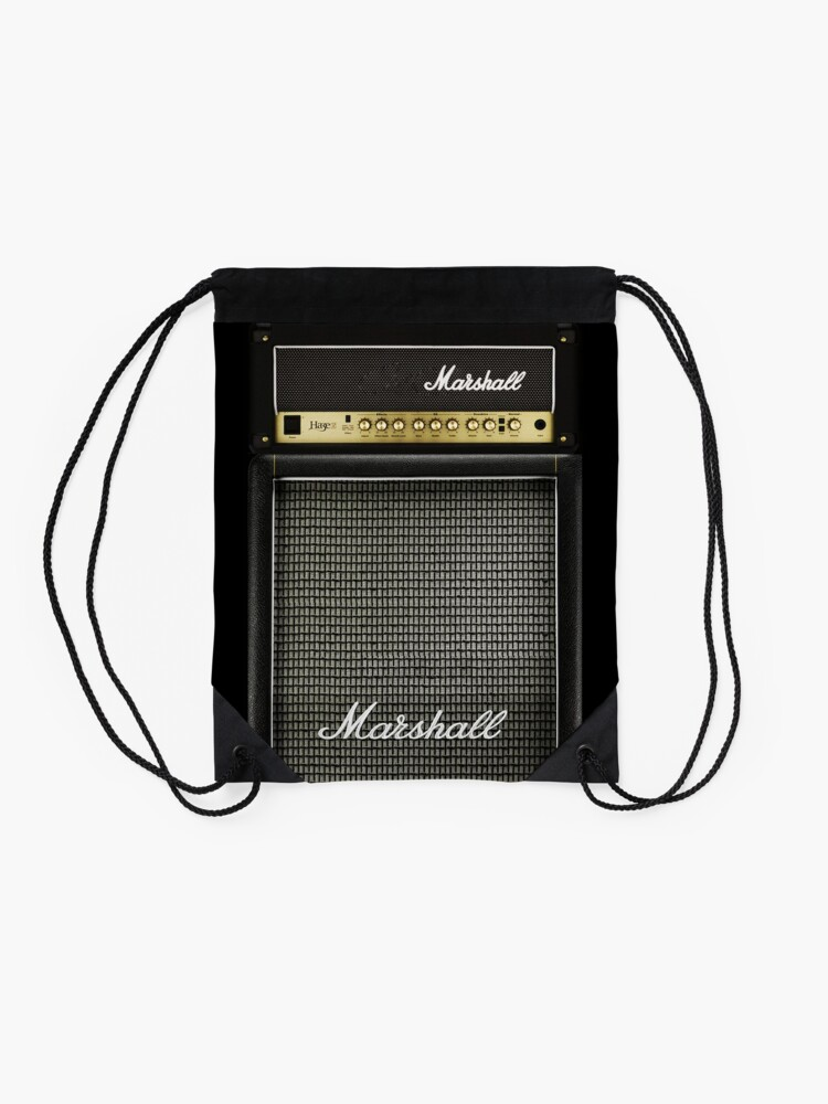 Alternate view of Black and gray color amp amplifier Drawstring Bag