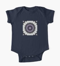 Ultra Violet Silver and Lilac Abstract Kaleidoscope Pattern One Piece - Short Sleeve