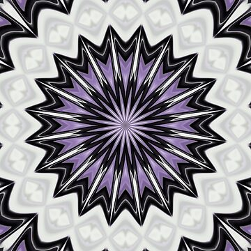 Ultra Violet Silver and Lilac Abstract Kaleidoscope Pattern by taiche