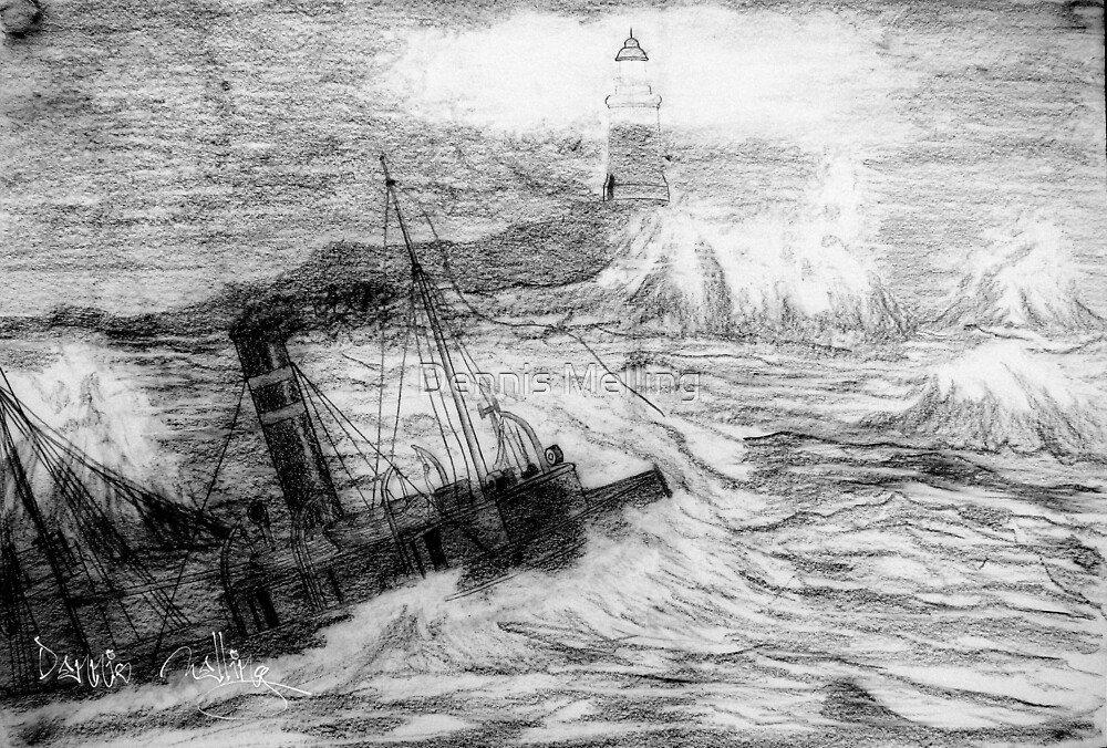 My pencil drawing of Distress at Corbiere Light, Channel Islands 1874 by Dennis Melling