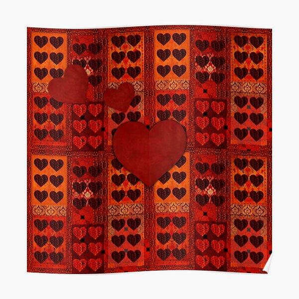 """""""San Valentín Vintage textile patches"""" Poster"""