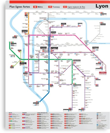 Lyon France Metro Map.Lyon Metro Map France Metal Prints By Superfunky Redbubble
