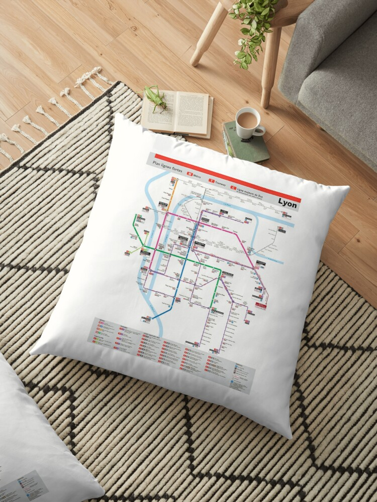 Lyon France Metro Map.Lyon Metro Map France Floor Pillows By Superfunky Redbubble