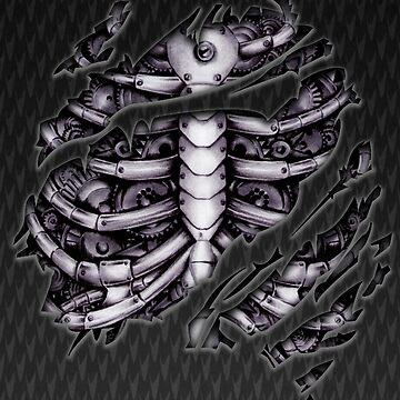 Steampunk terminator Cyborg robot cuerpo rasgado tee camiseta de GalihArt