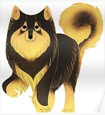 Geometric dogs - Finnish Lapphund Poster