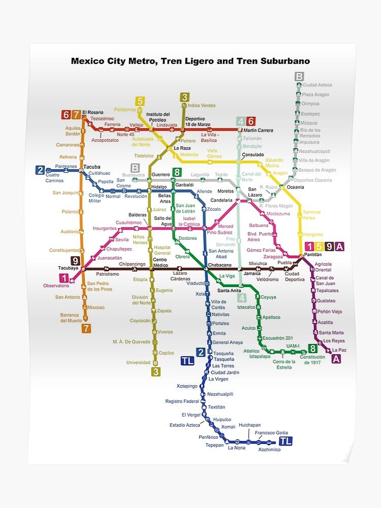 Mexco City Subway Map.Mexico City Metro Mexico City Poster
