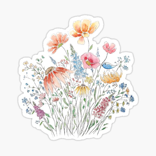 wild flower bouquet and blue bird-line and watercolor 2 Sticker