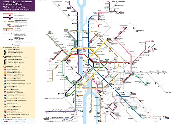 Budapest Metro Tram Railway Map Hungary Posters by superfunky