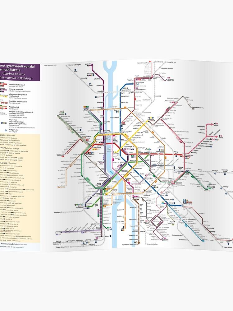 Metro Karte Budapest.Budapest Metro Tram Eisenbahn Karte Ungarn Poster