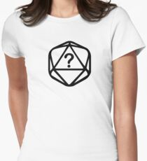 D20 Mystery Black Lines Dice Single Women's Fitted T-Shirt