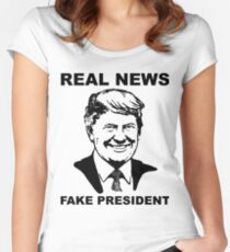 Real News Fake President Women's Fitted Scoop T-Shirt