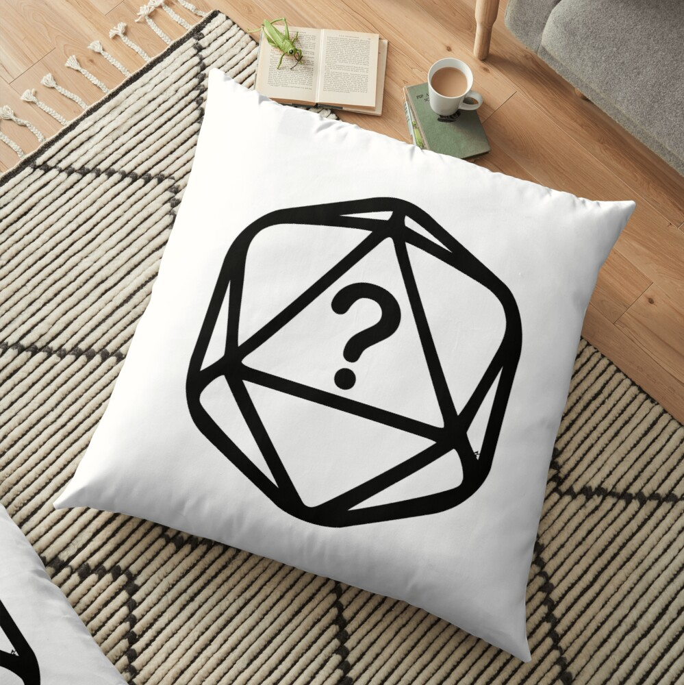 D20 Mystery Black Lines Dice Single Floor Pillow