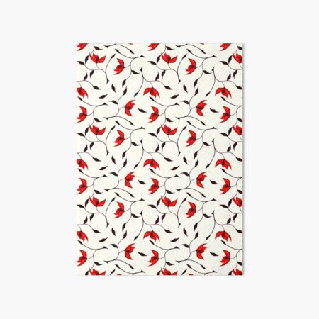 Delicate Red Flower Pattern Art Board Print