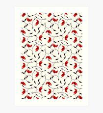 Delicate Red Flower Pattern Art Print