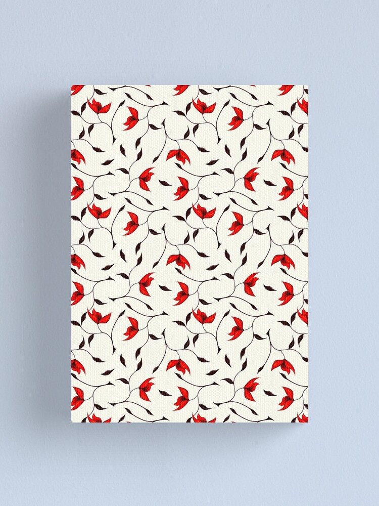 Alternate view of Delicate Red Flower Pattern Canvas Print