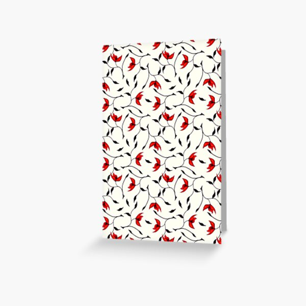 Delicate Red Flower Pattern Greeting Card