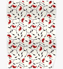 Delicate Red Flower Pattern Poster