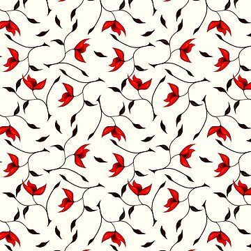 Delicate Red Flower Pattern by azzza