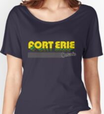 Fort Erie, Ontario | Retro Stripes Women's Relaxed Fit T-Shirt