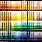 Colorful paint swatches ordered in rainbow order at the hardware store by Karin Elizabeth