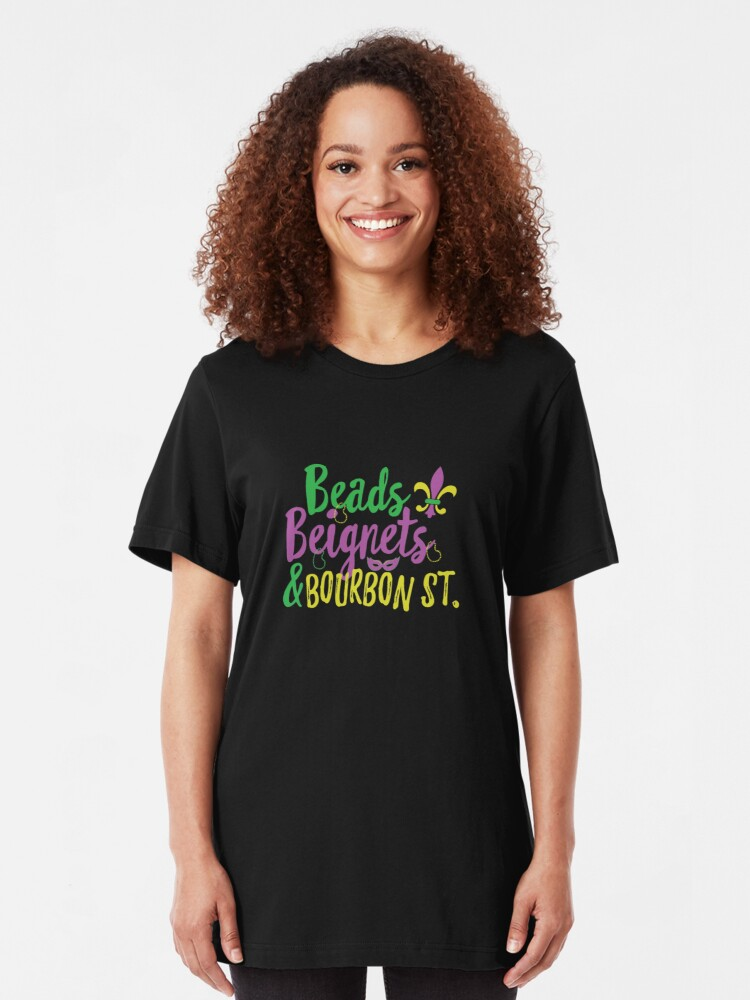 Mardi Gras New Orleans Fat Tuesday Bourbon St Louisiana Mens Vneck T-shirt
