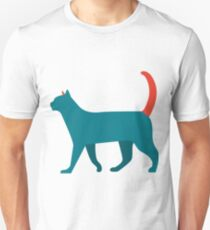 funny cat walk green red tail Unisex T-Shirt