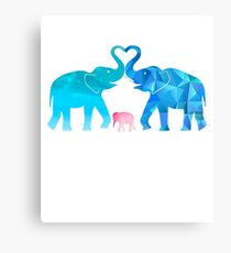 Elephants Lovers T Shirt Valentine's Day Canvas Print