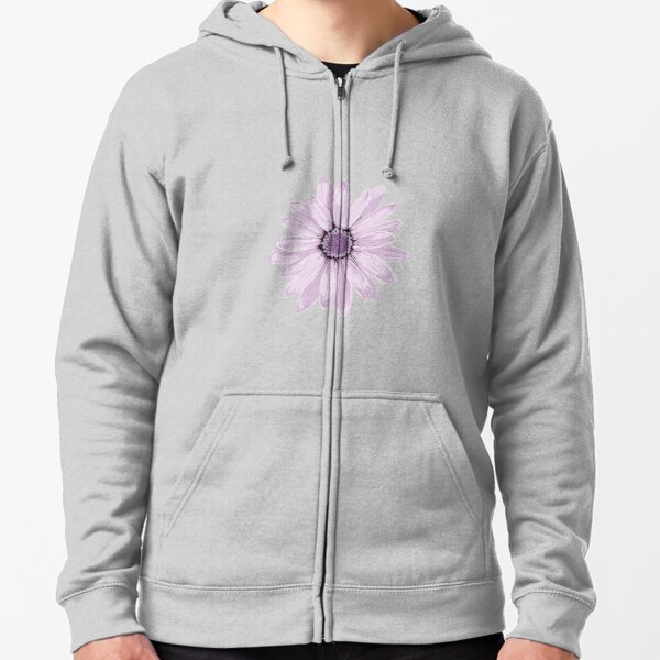 Purple Daisy Zipped Hoodie