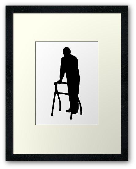 Old person man walking frame\