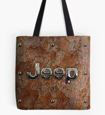 Rustic Jeep with chrome typograph Tote Bag