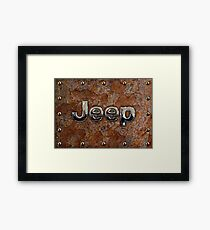 Rustic Jeep with chrome typograph Framed Print
