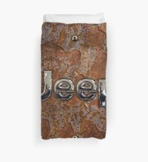 Rustic Jeep with chrome typograph Duvet Cover