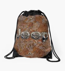 Rustic Jeep with chrome typograph Drawstring Bag