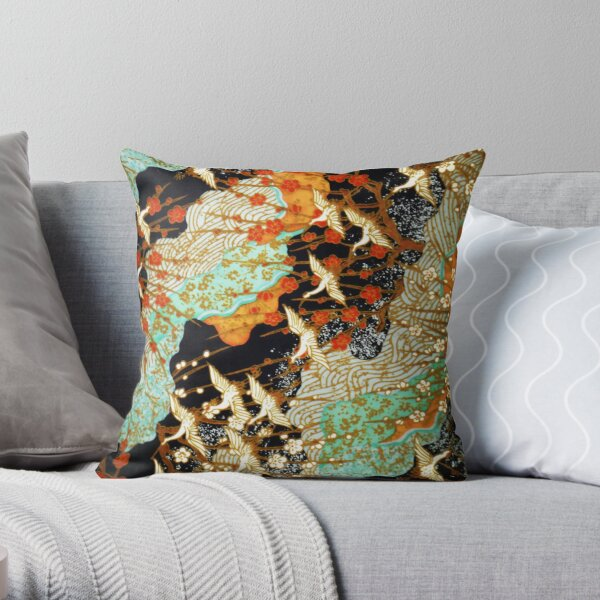 FLYING CRANES AND SPRING FLOWERS Antique Japanese Floral Throw Pillow