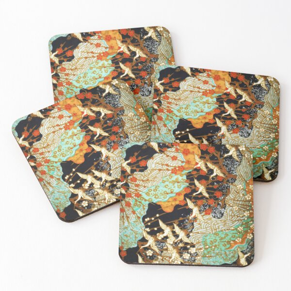 FLYING CRANES AND SPRING FLOWERS Antique Japanese Floral Coasters (Set of 4)