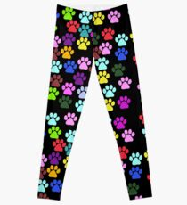Dog Paws, Trails, Paw-prints - Red Blue Green Leggings