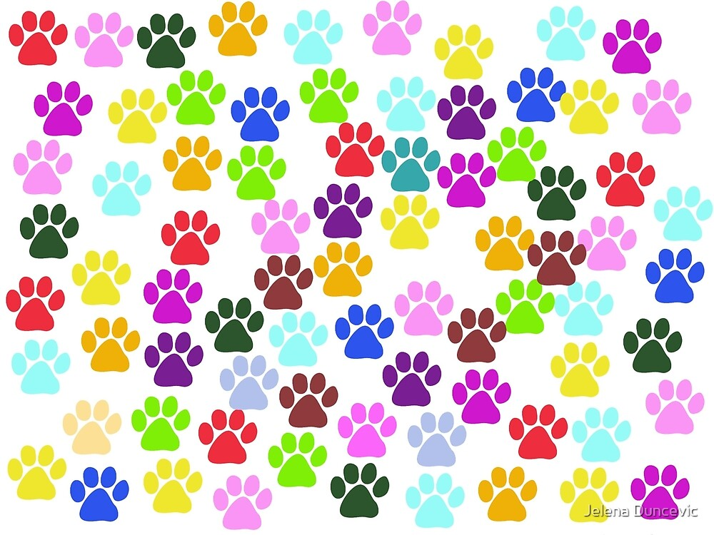 Dog Paws, Trails, Paw-prints - Red Blue Green by sitnica