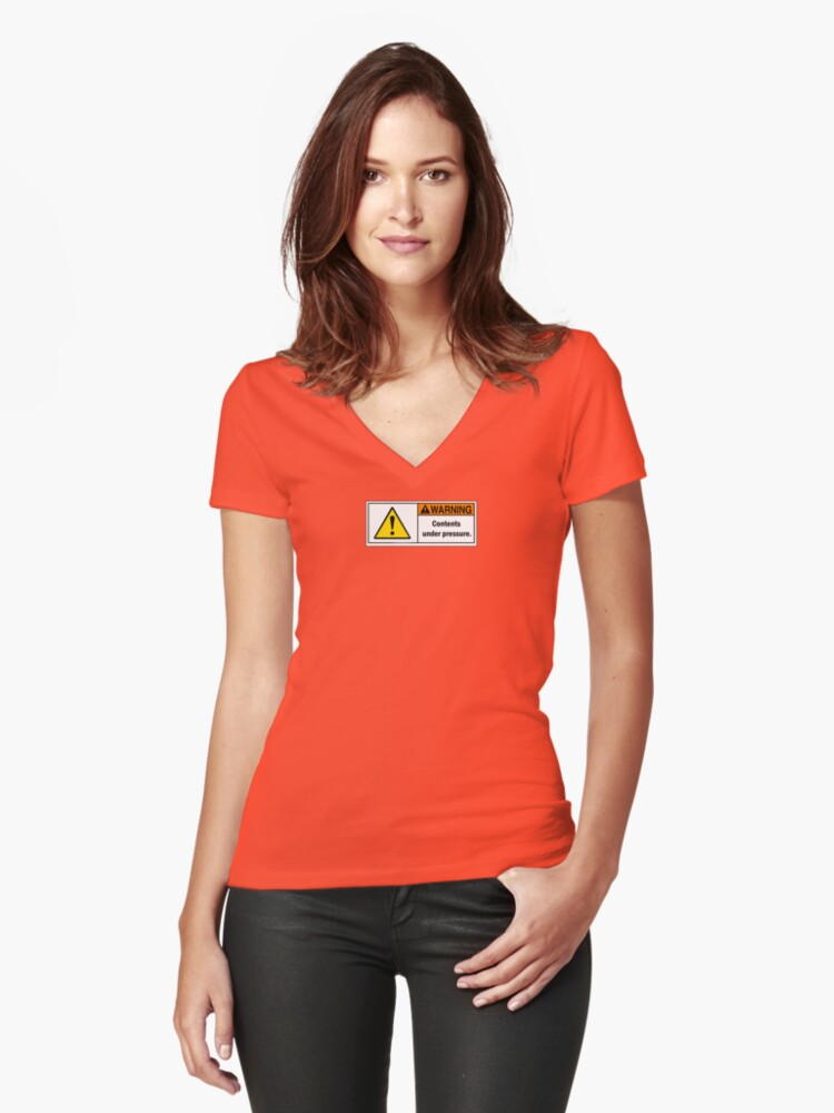 WARNING - Contents under pressure. Women's Fitted V-Neck T-Shirt Front