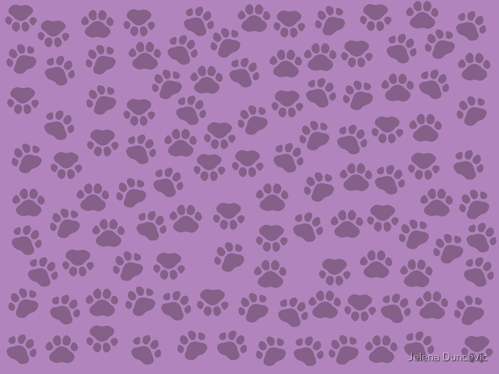 Dog Paws, Traces, Paw-prints - Purple by sitnica
