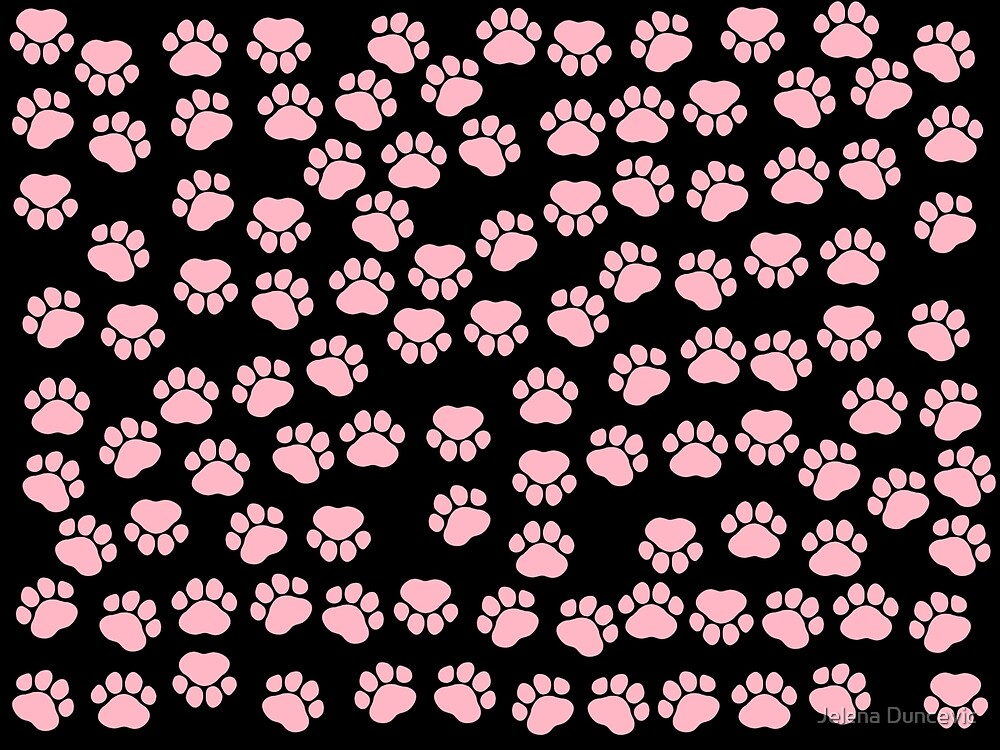 Dog Paws, Traces, Paw-prints - Pink Black by sitnica