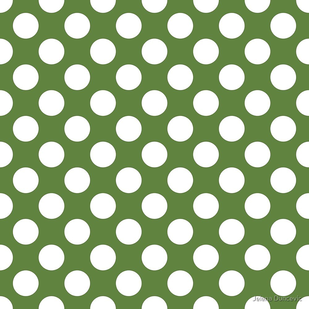 Polka Dots, Spots (Dotted Pattern) - Green White  by sitnica