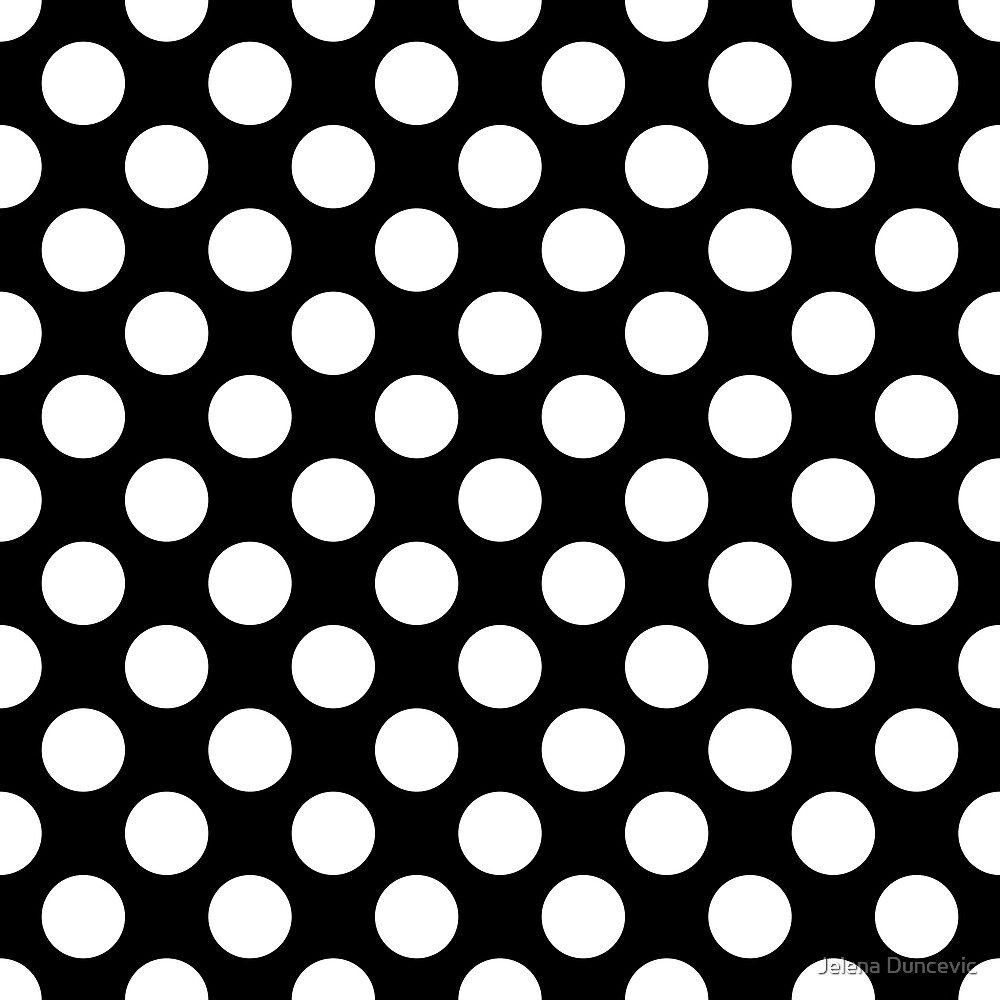 Polka Dots, Spots (Dotted Pattern) - Black White  by sitnica